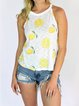 Casual printed round neck vest