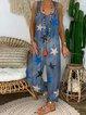Blue Denim Casual Spaghetti-Strap Printed Jumpsuits