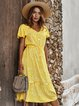 Floral Holiday Buttoned V Neck Dresses