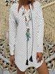 Women V Neck Tassel Polka Dots Summer Dresses Casual Dresses