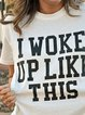 Casual Loose Print Round Neck Short Sleeve T-Shirt