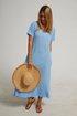 Plain Cotton-Blend V Neck Short Sleeve Dresses
