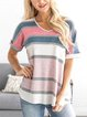 Casual Striped Loose Short Sleeve T-Shirt