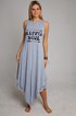 Sleeveless Asymmetric Letter Casual Dresses