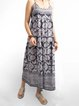 Women Summer Maxi Dresses Crew Neck A-Line Daily Floral-Print Dresses