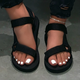 Black Summer Low Heel Sandals
