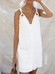 Plus Size Plain V Neck Sleeveless Cotton-Blend Dresses