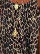 Womens Fashion Leopard Cotton Linen Top