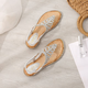 Rhinestone Flat Heel Date Artificial Leather Sandals