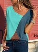Casual Color-block Short Sleeve T-Shirts