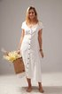 Women V-Neck Buttoned Cotton-Blend Short Sleeve Solid Swing Holiday Dresses