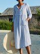 Linen 3/4 Sleeve Plain Holiday Dresses