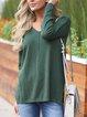Long Sleeve Casual Paneled V Neck Shirts & Tops