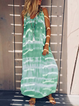 V Neck Women Holiday Cotton Abstract Maxi Plus Size Dresses