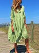 Plus Size  V-neck  Elegant Casual  Midi  Dress