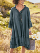 Women V-neck Half Sleeve Solid  Casual Midi Dresses