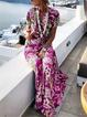 Vintage Women Short Sleeves Floral Printed Maxi Dresses