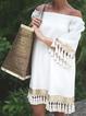 Solid Shor Sleeves Tassel Vacation Dresses