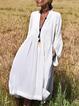 Solid Long Sleeves V-Neck Elegant Vacation Dresses