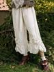 Women Plus Size Solid Cotton-Blend Ruffled Pants