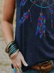 Sleeveless Printed Crew Neck Shirts & Tops