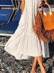 White Cotton Spaghetti A-Line Cold Shoulder Dresses