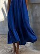 Blue Cold Shoulder Paneled Spaghetti Shift Dresses