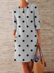 Buttoned Polka Dots Casual Dresses