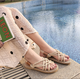Holiday Round Toe Apricot Gladiator Sandals