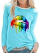 Round Neck Printed Cotton-Blend Long Sleeve Shirts & Tops