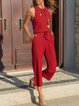 Vintage Plain Plus Size Sleeveless Crew Neck Casual Jumpsuits