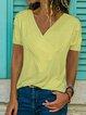 Cotton-Blend Shift Short Sleeve Shirts & Tops