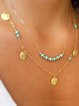 Women Alloy Multi-layer Golden Necklaces