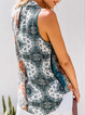Sleeveless V Neck Printed Casual Shirts & Tops