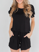Solid Casual Crew Neck One-Pieces