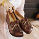 Daily Split Joint Fall Cowhide Leather Flats