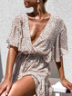 Sexy Deep V-neck Ruffled Beach Dress