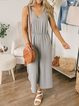 Solid Cotton-Blend Casual One-Pieces
