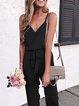 Plus Size Holiday Cotton-Blend Plain V Neck Dresses