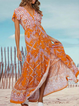 Orange A-Line Short Sleeve Floral Tencel Dresses