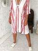 Red Vintage 3/4 Sleeve Stripes Dresses