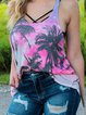 Summer European and American women's I-shaped U-neck slim-fit vest