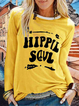 Letter Printed Casual Long Sleeve Crew Neck Shirt