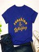Vintage Short Sleeve Letter Printed Plus Size Casual Tops