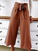 Bow Casual Plain Cotton Pants
