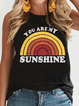 Printed Sleeveless Cotton-Blend Casual Shirts & Tops