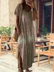 Plus Size Printed Summer Cotton Short Sleeve V Neck Maxi Dresses