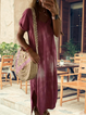 Plus Size Printed Summer Cotton Short Sleeve V Neck Maxi Dresses