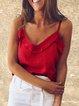 Plus Size Casual Cotton-Blend Plain V Neck Shirts & Tops