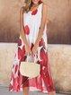 Plus Size Crew Neck Holiday Cotton-Blend Dresses